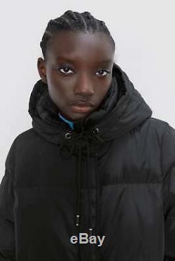 BNWT ZARA Black Long Down Jacket Coat with Hood Size M