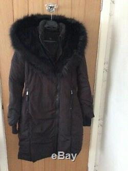 BNWT ZARA Black Long Quilted Down Feather Coat with Faux Fur Hood Size M