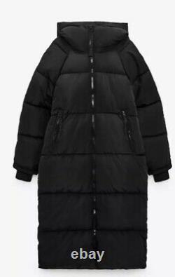 BNWT ZARA Extra Long Down Jacket Water Wind Coat Puffer MEDIUM Black