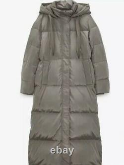 BNWT Zara Long Down Jacket Water & Wind Coat Puffer Taupe Size Large 12