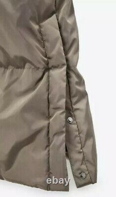 BNWT Zara Long Down Jacket Water & Wind Coat Puffer Taupe Small 10 12