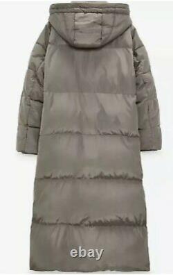 BNWT Zara Long Down Jacket Water & Wind Coat Puffer Taupe XL 14 16