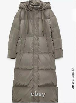 BNWT Zara Taupe Feather & Down Long Puffer Coat Jacket Size S Sold Out Bloggers