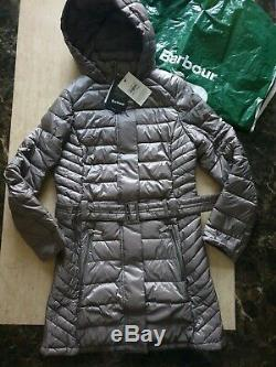 BNWT womens BARBOUR braemar fibre down quilted long jacket coat size uk 10 eu 36