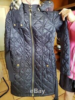 BURBERRY Black Gold Quilted Down Fill Baughton Belted Long Jacket Coat XS