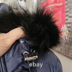BURBERRY Detachable Shearling Trim Down Waterproof Puffer Coat Navy Size XL