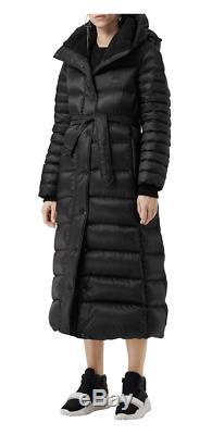 BURBERRY Kington Faux Fur Trim Long Down Coat Size M Orig. $1090 NWT