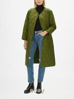 Barbour Alexa Chung Martha Long Quilted Coat Jacket Green Size 10 RRP £249