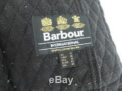 Barbour Folly biker jacket long black quilted fleece lined belted coat 14 VGC