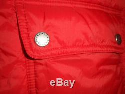 Barbour Icefield Quilted Fitted Long Jacket Coat Red fur hood fibredown UK 10