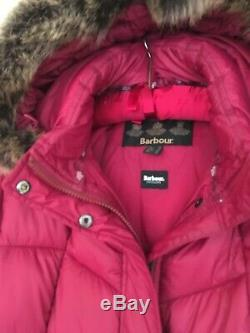 Barbour Ladies Bordeaux Clam quilted Down Coat Size 14 Barely Used