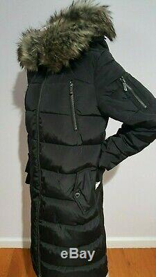 Bcbgmaxazria Faux Fur Trim Hood Black Puffer Parka Long Coat Size M