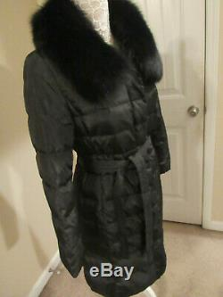 Blue Duck -duck Down W Blue Fox Real Fur Collar Puffer Long Coat S-excellent
