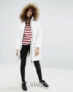 Bnwt £210 Tommy Hilfiger Jeans White Long Puffer Down Jacket Coat Size Small