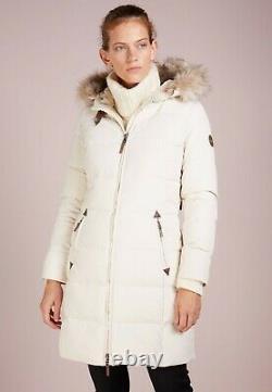 Bnwt Ralph Lauren Women Cream Quilted Long Down Coat Jacket Size S Rrp £249