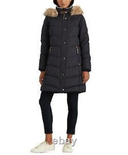 Bnwt Ralph Lauren Women Navy Quilted Long Down Coat Jacket Size Xs Rrp £249