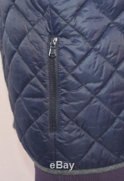 Brunello Cucinelli Blue Quilted Side Zipper Packet Long Sleeves Coat Size 46
