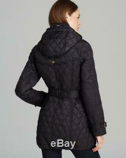 Burberry Brit Finsbridge Belted Long Quilted Coat in Navy Color size small
