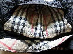 Burberry Brit Finsbridge Long Hooded Quilted Coat Jacket Black Size Small