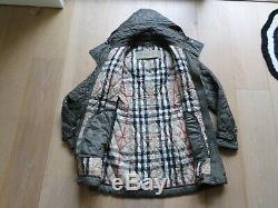 Burberry Brit Finsbridge Long Hooded Quilted Coat Jacket Mink Size Medium