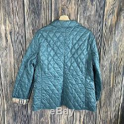 Burberry Brit Large Jacket Womens Green Quilted Coat Zip-up Long Sleeve Winter