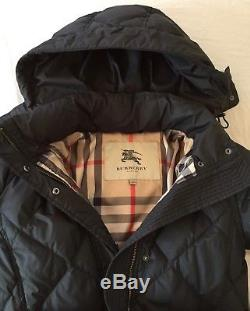 Burberry Brit long hooded quilted puffer coat size M full Nova Ceck lining belt