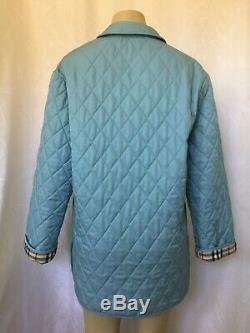 Burberry Jacket Coat Quilted Diamond Light Blue Nova Check Lining M Long Sleeve