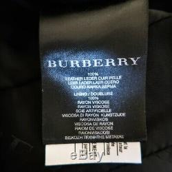 Burberry Leather Jacket Moto Long Black Quilted Belted Zip Up Coat IT 40 US 6