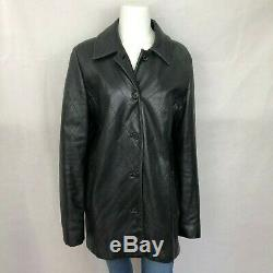 Burberry Leather Jacket Womens 10 Black Quilted Lined Buttons Coat Soft Long