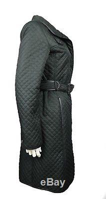 Burberry London Black Quilted Long Jacket Coat Belted US Small