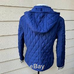 Burberry London Diamond Plaid Long Sleeve Women Quilted Blue Jacket Coat 16