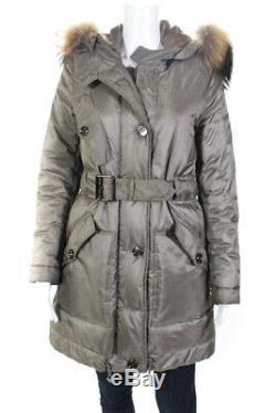 Burberry London Womens Long Sleeve Belted Raccoon Trim Puffer Coat Green Size XS