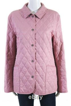 Burberry London Womens Long Sleeve Quilted Lightweight Coat Jacket Pink Size P