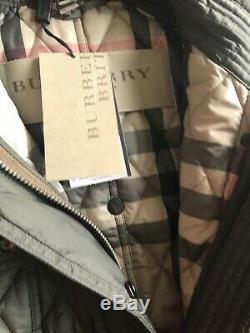 Burberry Long Finsbridge Coat Parka Nova Check Belt Quilted Jacket XS Mink Gray