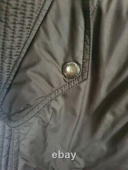 Burberry Long Khaki Green Goose Down Jacket Coat Size Medium Uk 10 12