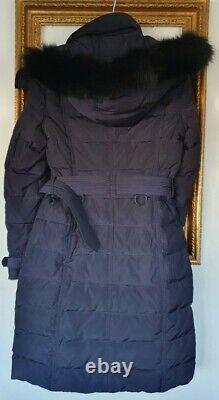 Burberry Navy Blue Duck Down Fox Fur Jacket Coat Size X Small Uk 8 10