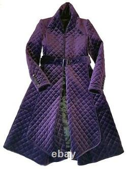 Burberry Prorsum Purple Quilted Princess Belted Flare Coat Runway IT 44 US 10