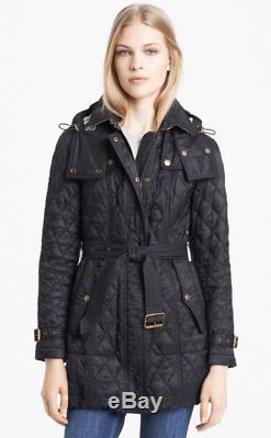 Burberry Women Finsbridge Hood Long Quilted Coat Jacket Black Sz Large Nwt