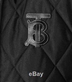 Burberry Women Ongar Monogram Motif Check Zip Long Quilted Coat Sz XL Black NWT