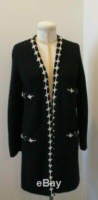 CHANEL Black and White Cashmere Blend Quilted Knit Open Sweater Coat Size 42