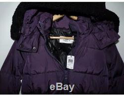 COACH ICON Long Puffer Jacket Coat Eggplant withShearling Trim NWT $650 Sz XS