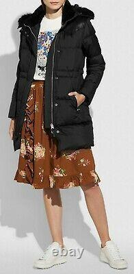 COACH Shearling Long Puffer Jacket Coat Black Size 6 Shearling Trim NWT $995
