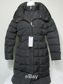 COLE HAAN Black Down Quilted Puffer Long Winter Coat Jacket, Womens size L new