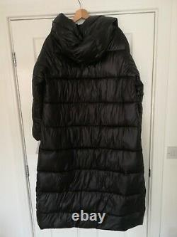 Calvin Klein CK black longline quilted puffer puffa coat jacket hooded L 14 16