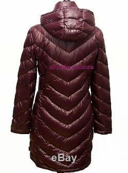 Calvin Klein Packable Light Weigh Long Hood Premium Down Coat Jacket Plum S NEW