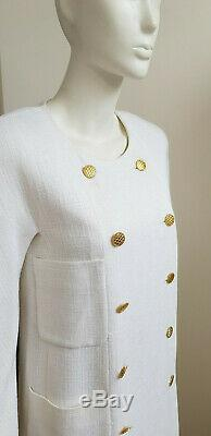 Chanel White Linen Double Breasted Gold Plated Quilted Button Long Sleeve Collar
