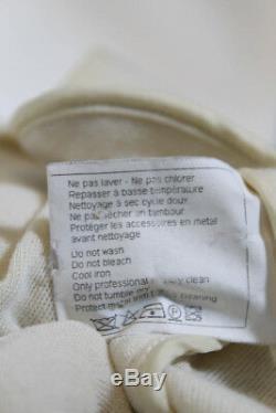 Chanel Womens Long Sleeve Quilted Moto Jacket Coat Beige Wool Silver Tone IT 40