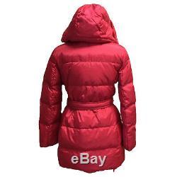 Coach F83993 Women's Center Zip Puffer Jacket Long Down Coat Hood Pink Scarlet