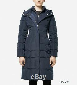 Cole Haan Women Quilted Down Long Coat Taffeta Navy Blue Size Large $275