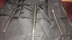 Cole Haan Womens Black Quilted Exposed Front Zip Long Coat Sz XS 3794
